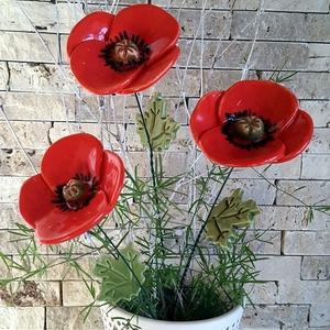 3 db Kerámia Pipacs Levéllel (tp.31), Otthon & lakás, Dekoráció, Dísz, Lakberendezés, Kaspó, virágtartó, váza, korsó, cserép, Kerámia, Virágkötés, Mezei Virágok Királynéja!Mint már oly sokunkat itt a Meskán engem is meg ihletett  a  pipacs szépség..., Meska