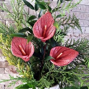 3db Piros Flamingó Mázas Kerámia Virág (tp.17), Esküvő, Esküvői dekoráció, Lakberendezés, Otthon & lakás, Dekoráció, Kerámia, Virágkötés, Szedj egy csokrot a virágos kertemből!Állítsd össze a saját csokrod! Fehér agyagból aprólékos kézi m..., Meska