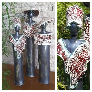 """,Parti\""""Kerámia Szobrok, Kerámia, Szobor, Művészet, Kerámia, Időről -időre készítek figurális szobrokat is.Őket fehér agyagból szabadkézi formáztam.Második égeté..., Meska"""