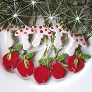"""10db Kerámia  Karácsonyfadísz, Otthon & Lakás, Karácsony & Mikulás, Karácsonyfadísz, Kerámia, ,Mikor még apró piros almákat fényesítettünk a karácsonyfára\""""Az ünnep még meghittebbé  tehető kedves..., Meska"""