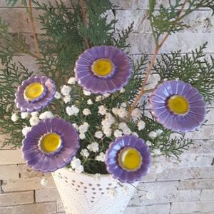 5 db Kékes-Lila Árnyalatú  Kerámia Virág(tp13)), Kerti dísz, Ház & Kert, Otthon & Lakás, Kerámia, Virágkötés,  Szedj egy  csokrot  a virágos kertemből! Egész évben üde színfoltja lehet otthonodnak.A csokrot kie..., Meska