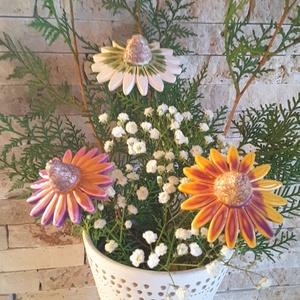3db Kasvirág Mázas Kerámia Virág (tp.15), Esküvő, Esküvői dekoráció, Lakberendezés, Otthon & lakás, Dekoráció, Kerámia, Virágkötés, Szedj egy csokrot a virágos kertemből!Fehér agyagból aprólékos kézi munkával készült magas hőfokon 2..., Meska
