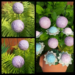 """,Díszhagyma\""""2 db Kerámia Virág, Kerti dísz, Ház & Kert, Otthon & Lakás, Kerámia, Virágkötés, Nagyobb virágokat is készítettem kert szépítéshez.Mikor már, vagy még nem színes a kert, ragyogó szí..., Meska"""