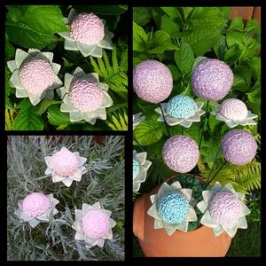 """,Rózsaszín Hortenzia\""""3 db Kerámia Virág, Otthon & lakás, Lakberendezés, Dekoráció, Kerti dísz, Kerámia, Virágkötés, Nagyobb virágokat is készítettem kert szépítéshez.Mikor már ,vagy még nem színes a kert, ragyogó szí..., Meska"""