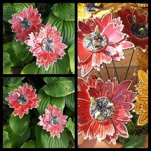""",Piros Egzotikus Virágom\""""2db Kerámia Virág, Otthon & lakás, Lakberendezés, Dekoráció, Kerti dísz, Kerámia, Virágkötés, Nagyobb virágokat is készítettem kert szépítéshez.Mikor már, vagy még nem színes a kert, ragyogó szí..., Meska"""