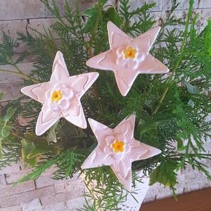 3db Csillag Kerámia Virág (tp.89), Csokor & Virágdísz, Dekoráció, Otthon & Lakás, Kerámia, Virágkötés,  Szedj egy  csokrot  a virágos kertemből!  Egész évben üde színfoltja lehet otthonodnak.A csokrot ki..., Meska