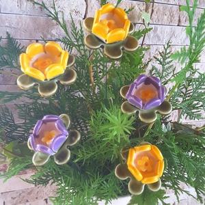 5db Tarka-Barka Kerámia Virág (tp.99), Csokor & Virágdísz, Dekoráció, Otthon & Lakás, Kerámia, Virágkötés,  Szedj egy  csokrot  a virágos kertemből!  Egész évben üde színfoltja lehet otthonodnak.A csokrot ki..., Meska