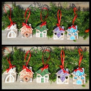 """,Vintage  Kopott Házikók\""""5db Kerámia  Karácsonyfadísz, Otthon & lakás, Dekoráció, Ünnepi dekoráció, Karácsony, Karácsonyfadísz, Kerámia, Az ünnep még meghittebbé  tehető kedves karácsonyi dekorációval.Fehér agyagból kézzel formáztam  eze..., Meska"""