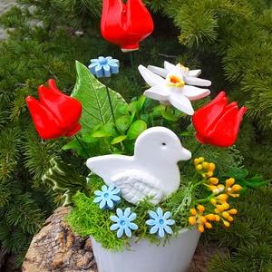 """,Fehér Madaras\""""Kerámia Virágos  Asztaldísz, Otthon & lakás, Lakberendezés, Asztaldísz, Kerámia, Virágkötés, Fehér agyagból aprólékos kézi munkával készült kerámia virágok ,levelek és madárka melyeket második ..., Meska"""