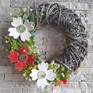""",Virágok\""""Kerámia Virágos,Kopogtató Ajtódísz, Otthon & lakás, Dekoráció, Lakberendezés, Ajtódísz, kopogtató, Dísz, Kerámia, Virágkötés,  Fehér agyagból aprólékos kézi munkával ,szabadkézi formázással készült 2 X égetett mázas kerámia vi..., Meska"""