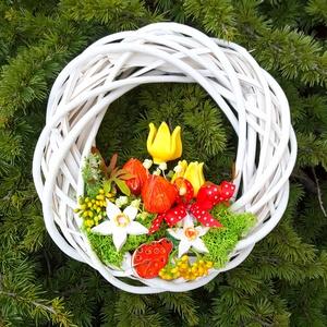 """,Tavasz Váró\""""Kerámia Virágos,Kopogtató Ajtódísz, Otthon & lakás, Dekoráció, Lakberendezés, Ajtódísz, kopogtató, Dísz, Kerámia, Virágkötés,  Fehér agyagból aprólékos kézi munkával ,szabadkézi formázással készült 2 X égetett mázas kerámia vi..., Meska"""