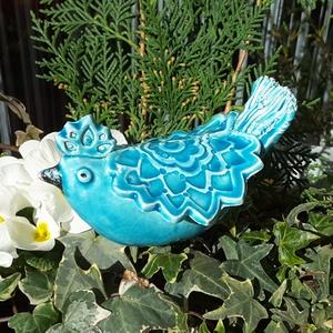 """,  Kékmadár """"Kerámia Kerti Dísz, Otthon & lakás, Lakberendezés, Dekoráció, Kerti dísz, Kerámia, Nagyon szeretem a kertet a virágokat.Ezért is szeretek annyira kerti díszeket készíteni.Szeretem ha..., Meska"""