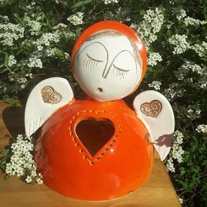""",Szeretet Angyal\""""Kerámia Mécsestartó, Kerámia, Szobor, Művészet, Kerámia, Mert mindenkinek kell legalább egy angyal! Ezt a bájos angyalt is fehér agyagból szeretgetve kézzel ..., Meska"""