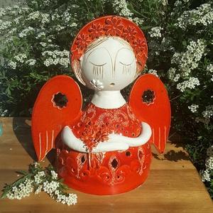 """, Virágok\""""  Kerámiaangyal Mécsestartó, Otthon & lakás, Lakberendezés, Gyertya, mécses, gyertyatartó, Kerámia, Mert mindenkinek szüksége van legalább egy  angyalra!  Ezt a nagy és bájos  angyalkát is fehér agyag..., Meska"""