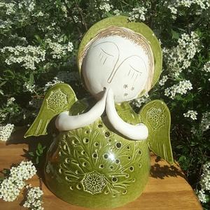 """, Olívia\""""  Kerámiaangyal  Mécsestartó, Gyertya & Gyertyatartó, Dekoráció, Otthon & Lakás, Kerámia, Mert mindenkinek szüksége van legalább egy  angyalra!  Ezt a bájos angyalkát is fehér agyagból szere..., Meska"""