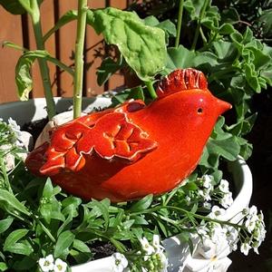 """,  Kis Piros Madárka\""""Kerámia Kerti Dísz, Otthon & lakás, Lakberendezés, Dekoráció, Kerti dísz, Kerámia, Nagyon szeretem a kertet a virágokat.Ezért is szeretek annyira kerti díszeket készíteni.Szeretem ha ..., Meska"""
