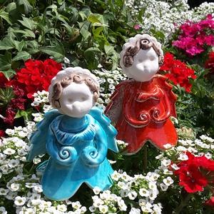""",Emma és Anna\""""2db Kerámia Virágtündér, Otthon & lakás, Dekoráció, Lakberendezés, Kerti dísz, Kerámia, Kis iker virágtündéreim!Több ezer virágot készítettem már ezért gondoltam legyen tündérük is!Fehér a..., Meska"""
