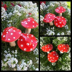 """,Galócák\""""Kerámia Kerti,Lakás Dísz, Otthon & lakás, Lakberendezés, Dekoráció, Kerti dísz, Kerámia, Virágkötés, Szép színfolt ,kedves kerti dekoráció.Olyan kert részekre ajánlom ahol egyéb színes élő virág nem él..., Meska"""