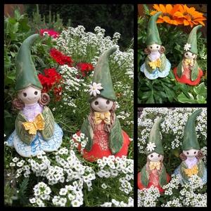 """,Janka és Blanka\""""2db Kerámia Virágtündér, Otthon & lakás, Dekoráció, Lakberendezés, Kerti dísz, Kerámia, Több ezer virágot készítettem már ezért gondoltam legyen tündérük is!Fehér agyagból készítettem ezek..., Meska"""