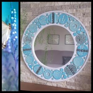 """""""Hűs Türkiz""""Kerámiával Díszített Fali Tükör, Otthon & Lakás, Tükör, Dekoráció, Fehér agyagból lapnyújtással készítettem a különböző méretű és formájú kerámia mozaikokat.Mintáját n..., Meska"""