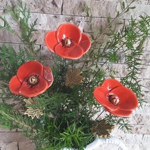 3 db Kerámia Pipacs Levéllel (tp.31), Csokor & Virágdísz, Dekoráció, Otthon & Lakás, Kerámia, Virágkötés, Mezei Virágok Királynéja!Mint már oly sokunkat itt a Meskán engem is meg ihletett  a  pipacs szépség..., Meska