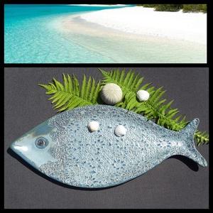 """, Fémes Kék Hal\""""   Kerámia Kínálótál, Kínálótál, Konyhafelszerelés, Otthon & Lakás, Kerámia, Virágkötés, Különleges hal formájú  kínáló.Azokra a csodás nyári napokra.Az igazán finom sütemények kínálásához!..., Meska"""
