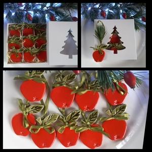 """9db \"""" Piros Alma\"""" Kerámia Karácsonyfadísz Díszdobozban, Karácsony & Mikulás, Karácsonyfadísz, Kerámia, Az ünnep még meghittebbé  tehető kedves karácsonyi dekorációval.Fehér agyagból készítettem ezeket a ..., Meska"""