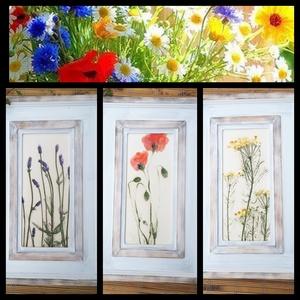 """,Virágos Otthon\""""3db Keretezett Kerámia Kép (1), Falra akasztható dekor, Dekoráció, Otthon & Lakás, Kerámia, Famegmunkálás, Az egyszerű szépségű ,mezei virágok  hű lenyomatai.Fehér agyagból szabadkézi formázással lapnyújtáss..., Meska"""