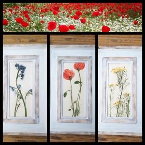 """,Kis Falum Virágai\""""3db Keretezett Kerámia Kép (1), Kép & Falikép, Dekoráció, Otthon & Lakás, Kerámia, Famegmunkálás, Az egyszerű szépségű ,mezei virágok  hű lenyomatai.Fehér agyagból szabadkézi formázással lapnyújtáss..., Meska"""