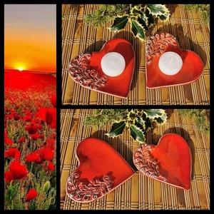""", Szerelem\"""" 2 db Kerámia Mécsestartó , Otthon & Lakás, Dekoráció, Gyertya & Gyertyatartó, Kerámia, Igazi kis lakásékszer ! Fehér agyagból kézi formázással készítettem ezeket kedves szív alakú mécsest..., Meska"""
