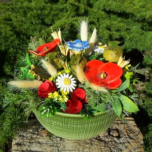 """,Mező Virágai\""""Kerámia Virágos  Asztaldísz, Asztaldísz, Dekoráció, Otthon & Lakás, Kerámia, Virágkötés, Fehér agyagból aprólékos kézi munkával készült kerámia virágok ,levelek és madárka melyeket második ..., Meska"""