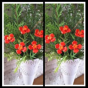 5 db kis Piros kerámia Virág (tp.2), Otthon & Lakás, Ház & Kert,  Szedj egy  csokrot  a virágos kertemből!  Egész évben üde színfoltja lehet otthonodnak.A csokrot ki..., Meska