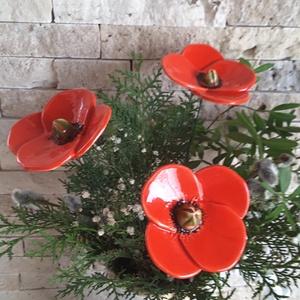 3 db Kerámia Pipacs (tp.31), Otthon & Lakás, Ház & Kert, Kerámia, Virágkötés, Mezei Virágok Királynéja!Mint már oly sokunkat itt a Meskán engem is meg ihletett  a  pipacs szépség..., Meska