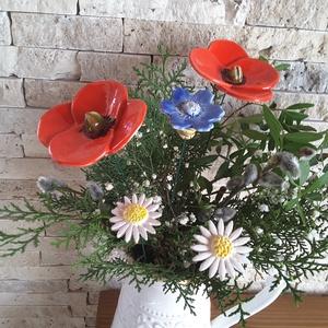 """Mezei Virágcsokor \""""Mázas Kerámia Virág , Otthon & Lakás, Dekoráció, Csokor & Virágdísz, Kerámia, Virágkötés, Szedj egy csokrot a virágos kertemből ! Fehér agyagból aprólékos kézi munkával és 2 szeri égetéssel ..., Meska"""