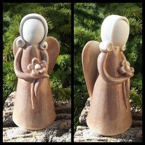 """,  Virágom\""""Kerámia Angyal , Otthon & Lakás, Dekoráció, Kerámia, Mert most is szükségünk van rájuk.....Ezt a bájos angyalkát is fehér agyagból szeretgetve kézzel for..., Meska"""