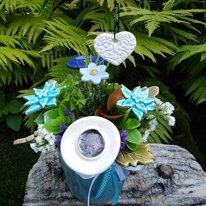 """,Ajándék""""Kerámia Virágos  Asztaldísz, Otthon & Lakás, Dekoráció, Asztaldísz, Fehér agyagból aprólékos kézi munkával készült kerámia virágok ,levelek melyeket második égetés előt..., Meska"""
