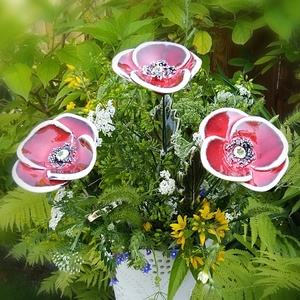 """3 db ,Antik Piros  Kerámia Pipacs levéllel """", Otthon & Lakás, Ház & Kert, Mezei Virágok Királynéja!Mint már oly sokunkat itt a Meskán engem is meg ihletett  a  pipacs szépség..., Meska"""