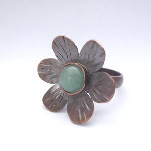Aventurin virág -  gyűrű (hajnalgyongy) - Meska.hu
