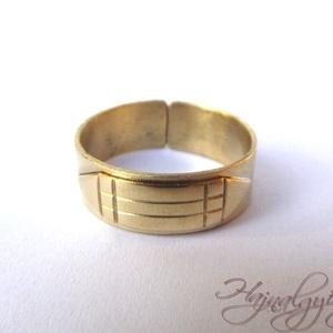 Atlantiszi gyűrű 7 mm, Ékszer, Kerek gyűrű, Gyűrű, Egyedi kézműves sárgaréz gyűrű, védelmező Atlantiszi motívummal. Nyitott, 1-2 méretet lehet rajta ál..., Meska