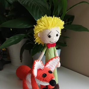 Kis herceg és a róka, Gyerek & játék, Játék, Játékfigura, Plüssállat, rongyjáték, 100 % pamut fonallal horgoltam meg a Kis herceget, és rókáját.  Örök szerelem :)  ˇHa megszelídítesz..., Meska