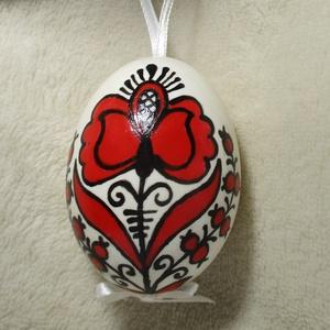Tojás, népművészeti, festett., Művészet, Más művészeti ág, Festett tárgyak, Mindenmás, Kézzel festett mintával díszített természetes tojás. 6x4cm-es, mint egy átlagos tyúktojás., Meska