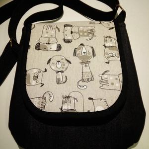 Kutyabarát - válltáska, Táska & Tok, Kézitáska & válltáska, Válltáska, Fekete farmer táska, melynek áthajtóját vidám kutyusok díszítik.  Vállpántja állítható, belső zseb t..., Meska