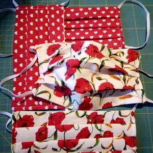 Mosható textilmaszk - piros, NoWaste, Textilek, Kendő, Varrás, Kétrétegű, mosható, vasalható (magas hőfokon is) szájmaszk a piros szín és a pipacsok kedvelőinek.\nA..., Meska