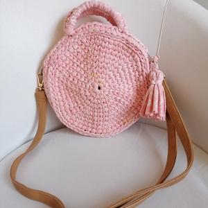 Horgolt táska csukló vagy válltáska rózsaszín , Táska & Tok, Kézitáska & válltáska, Csuklótáska, Horgolás, Mintás pólófonalból horgolt 6 szög alakú táska.\nÁtmérője 25cm.\nNincs bélelve, azonban szorosan horgo..., Meska