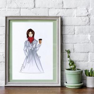 Falikép- Divatillusztráció- Kávézó nő, Dekoráció, Otthon & lakás, Kép, Lakberendezés, Falikép, Fotó, grafika, rajz, illusztráció, Divatillusztrációs falikép otthonodba vagy ajándékba barátnődnek, vagy valamelyik családtagodnak. A ..., Meska