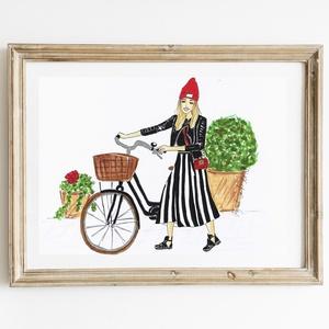 Divatillusztrációs falikép- Bicikliző modell, Dekoráció, Otthon & lakás, Kép, Lakberendezés, Falikép, Fotó, grafika, rajz, illusztráció, Divatillusztrációs falikép otthonodba vagy ajándékba barátnődnek, vagy valamelyik családtagodnak. A ..., Meska