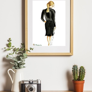 All black nő, Képzőművészet, Otthon & lakás, Illusztráció, Fotó, grafika, rajz, illusztráció, A termék minőségi ecsetfilccel és pasztelkrétával készült fotó alapján.\nA megrendelt termék másolata..., Meska