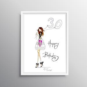 Divatillusztrációs falikép- Boldog Születésnap 30, Dekoráció, Otthon & lakás, Kép, Lakberendezés, Falikép, Fotó, grafika, rajz, illusztráció, Divatillusztrációs falikép 30. születésnapra! A nyomat eredetije minőségi ecset és tűfilccel készül...., Meska