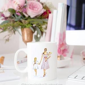Divatillusztrációs bögre- Anya, Konyhafelszerelés, Otthon & lakás, Bögre, csésze, Fotó, grafika, rajz, illusztráció, Divatillusztrációs bögre- Anya\n\nEgyedi illusztrációs rajzokkal ellátott kerámia bögre. A bögre 2 ill..., Meska