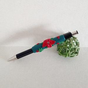 Téli zöld ékszertoll díszdobozzal, Otthon & Lakás, Papír írószer, Ceruza & Toll, Gyurma, Telet idéző motívumok, ünnepi színek. Élvezet felfedezni a megannyi apró részletet. \nA tollat saját ..., Meska